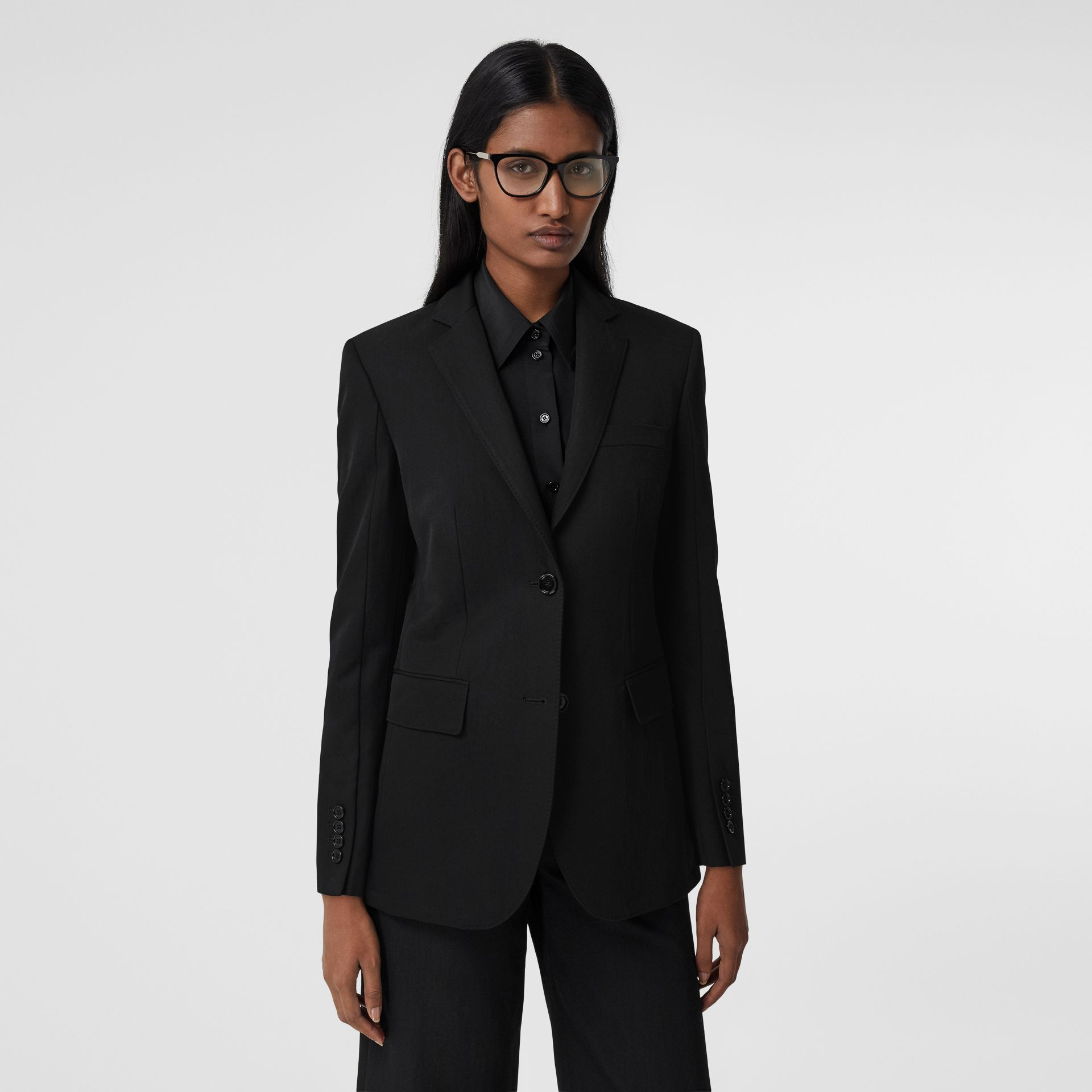 Technical Wool Gabardine Tailored Jacket in Black - Women | Burberry - gallery image 5