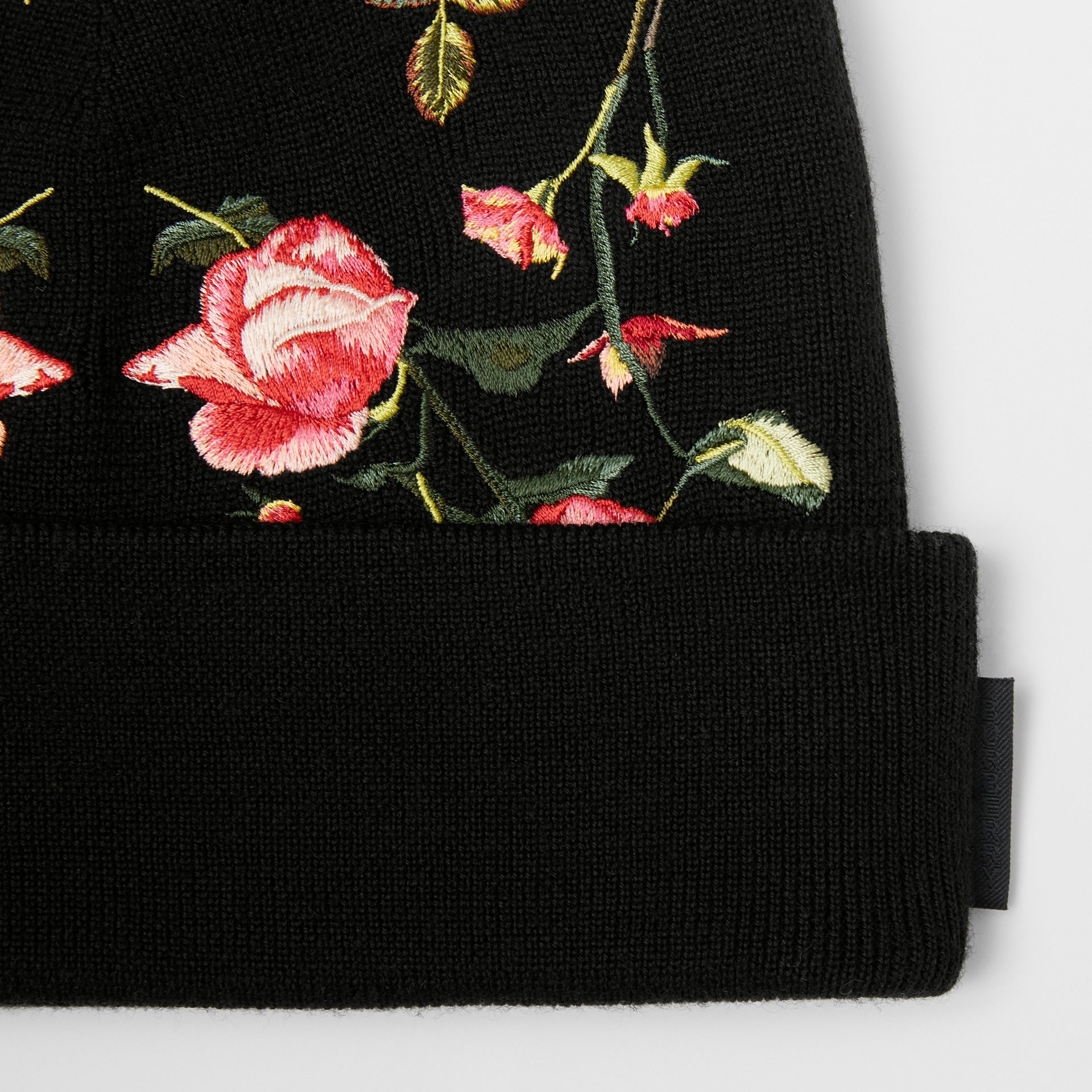 Embroidered Rose Merino Wool Beanie in Black | Burberry - gallery image 1