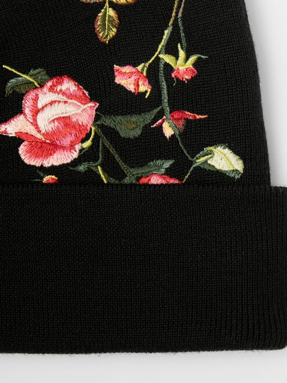 Embroidered Rose Merino Wool Beanie in Black | Burberry - cell image 1