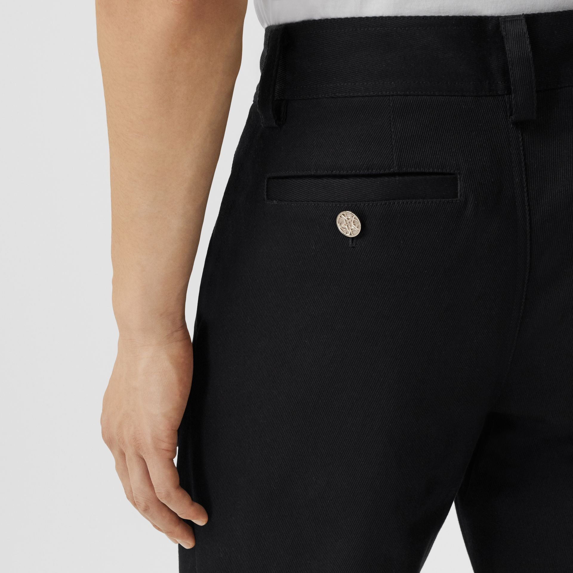 Straight Fit Logo Detail Cotton Chinos in Black - Men | Burberry Canada - gallery image 4