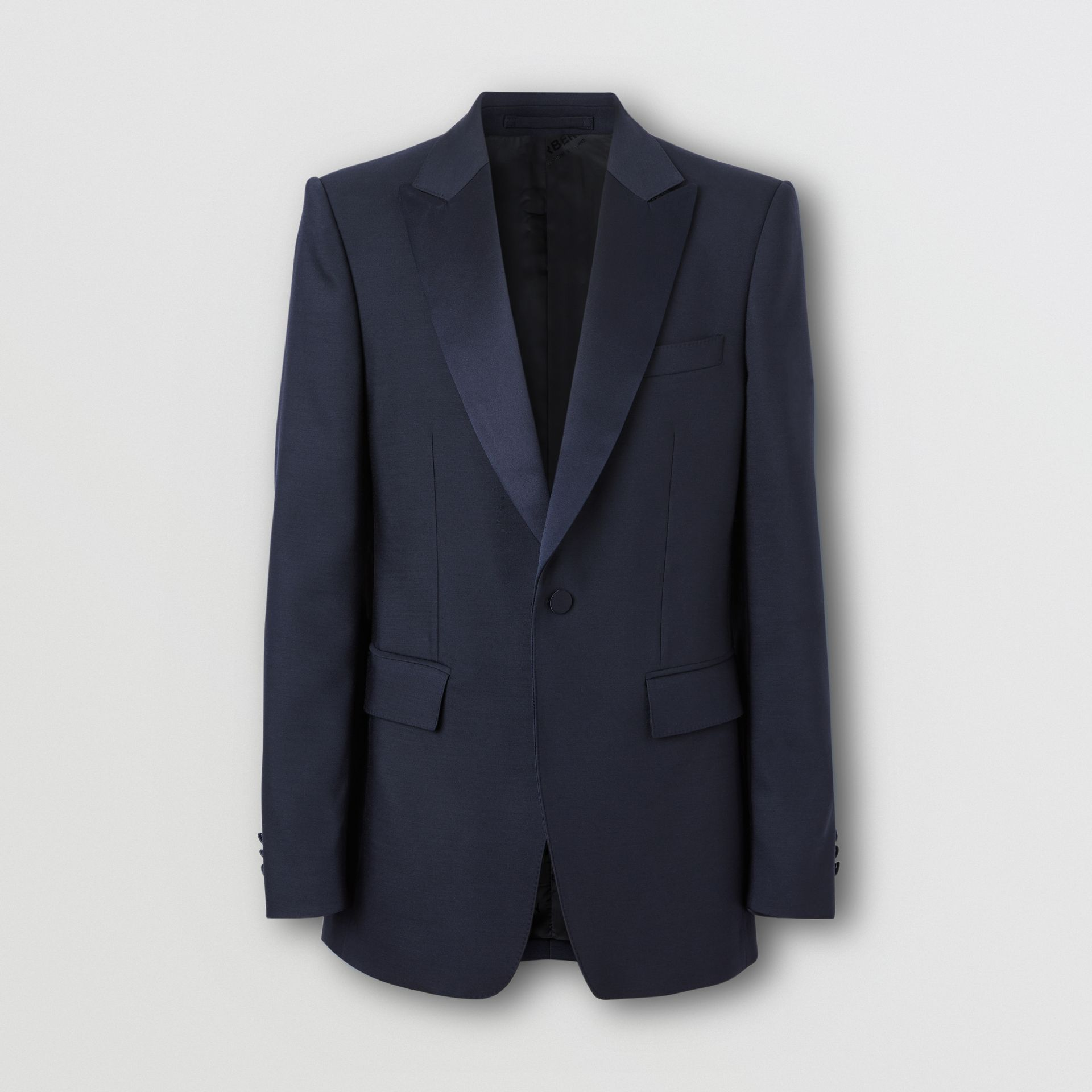 English Fit Wool Silk Blend Tailored Jacket in Navy Black - Men | Burberry Hong Kong S.A.R. - gallery image 3