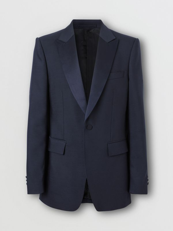 English Fit Wool Silk Blend Tailored Jacket in Navy Black - Men | Burberry - cell image 3