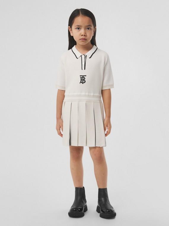 Gestricktes Poloshirtkleid mit Monogrammmotiv (Elfenbeinfarben)