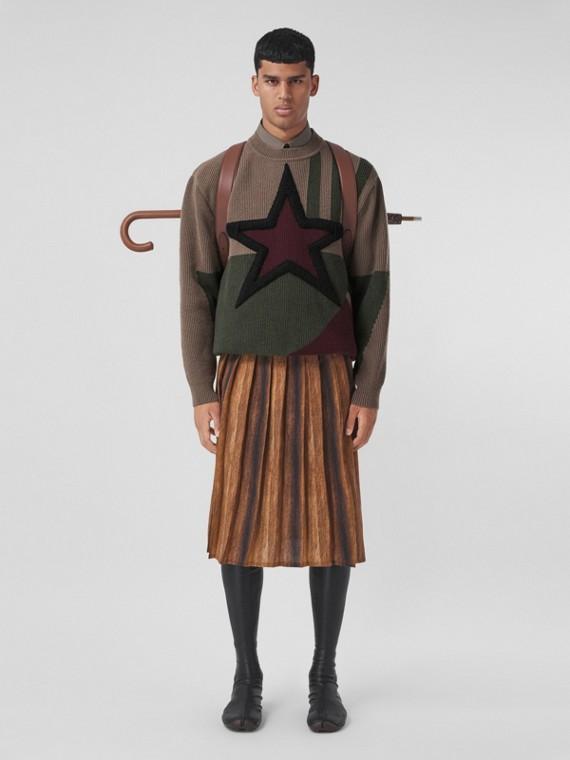 Geometric Intarsia Rib Knit Wool Sweater in Khaki