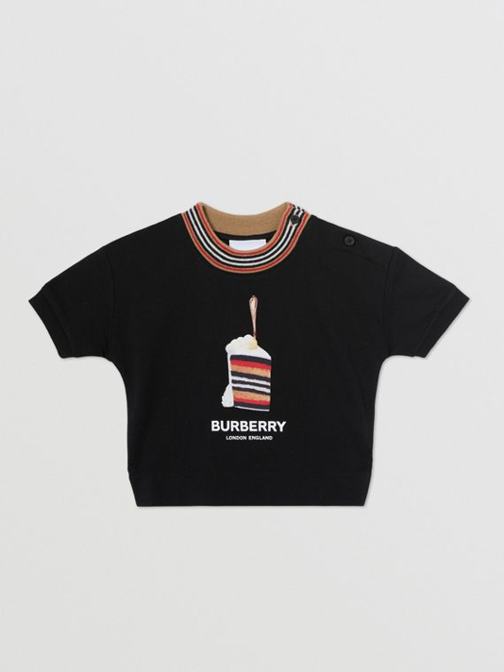 Cake Print Cotton T-shirt in Black
