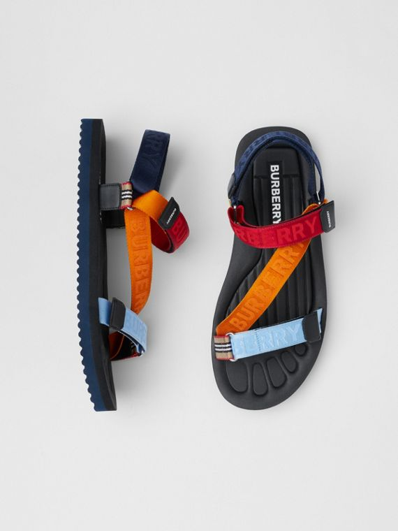 Logo Jacquard Sandals in Bright Red/orange
