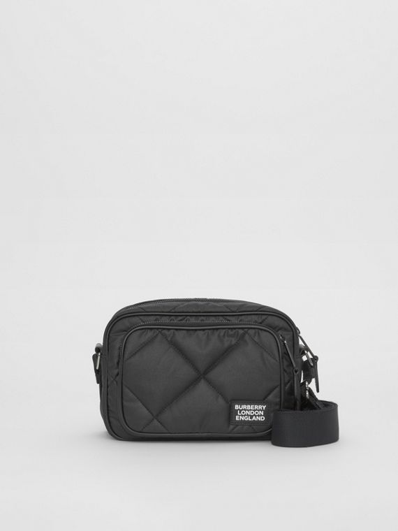 Diamond Quilted Cotton Crossbody Bag in Black