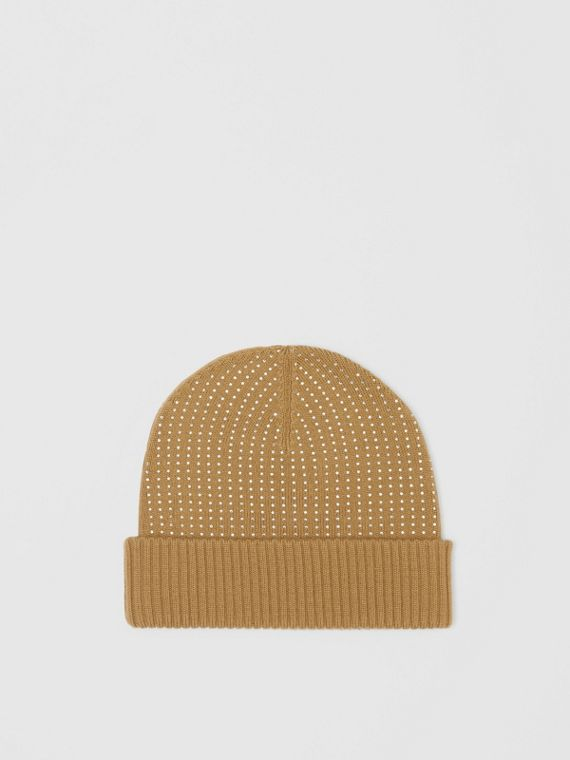 Crystal Pinstriped Merino Wool Beanie in Archive Beige