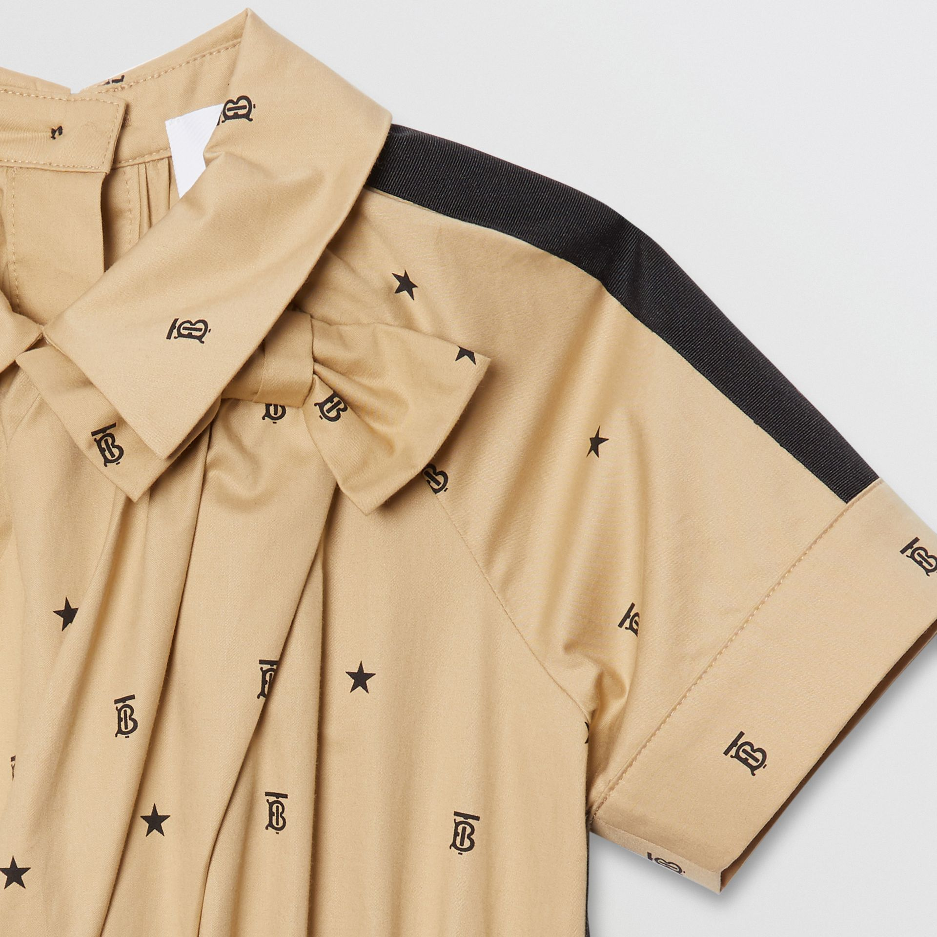 Star and Monogram Motif Stretch Cotton Dress in Sand | Burberry - gallery image 3