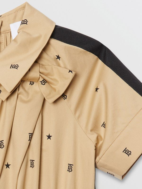 Star and Monogram Motif Stretch Cotton Dress in Sand | Burberry - cell image 3