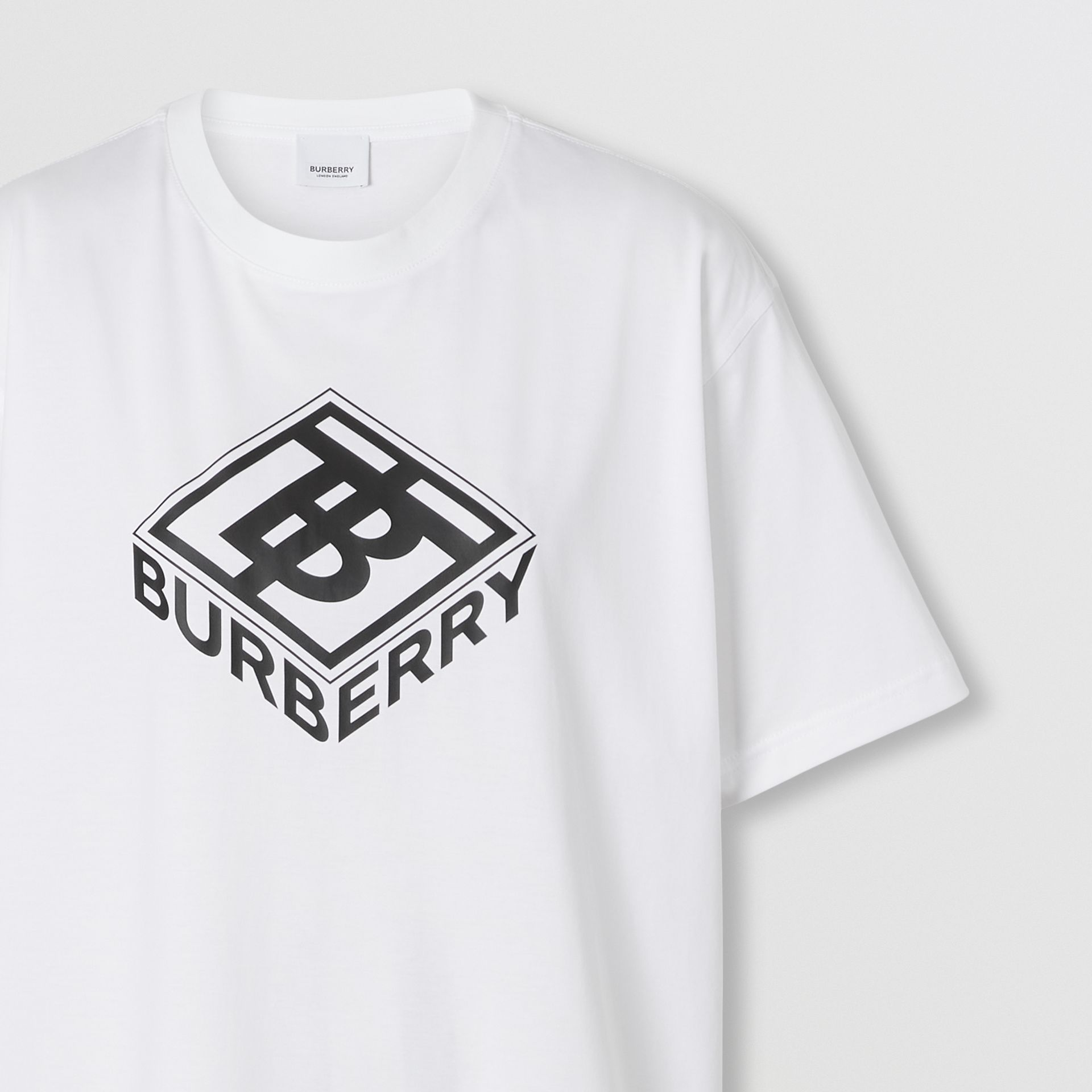 Logo Graphic Cotton T-shirt in White - Women | Burberry Canada - gallery image 1