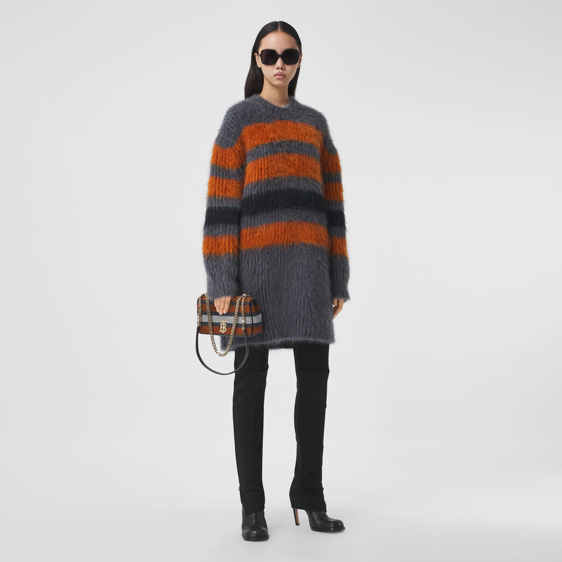 Stripe Intarsia Mohair Silk Oversized Sweater in Dark Grey Melange - Women | Burberry - gallery image 0