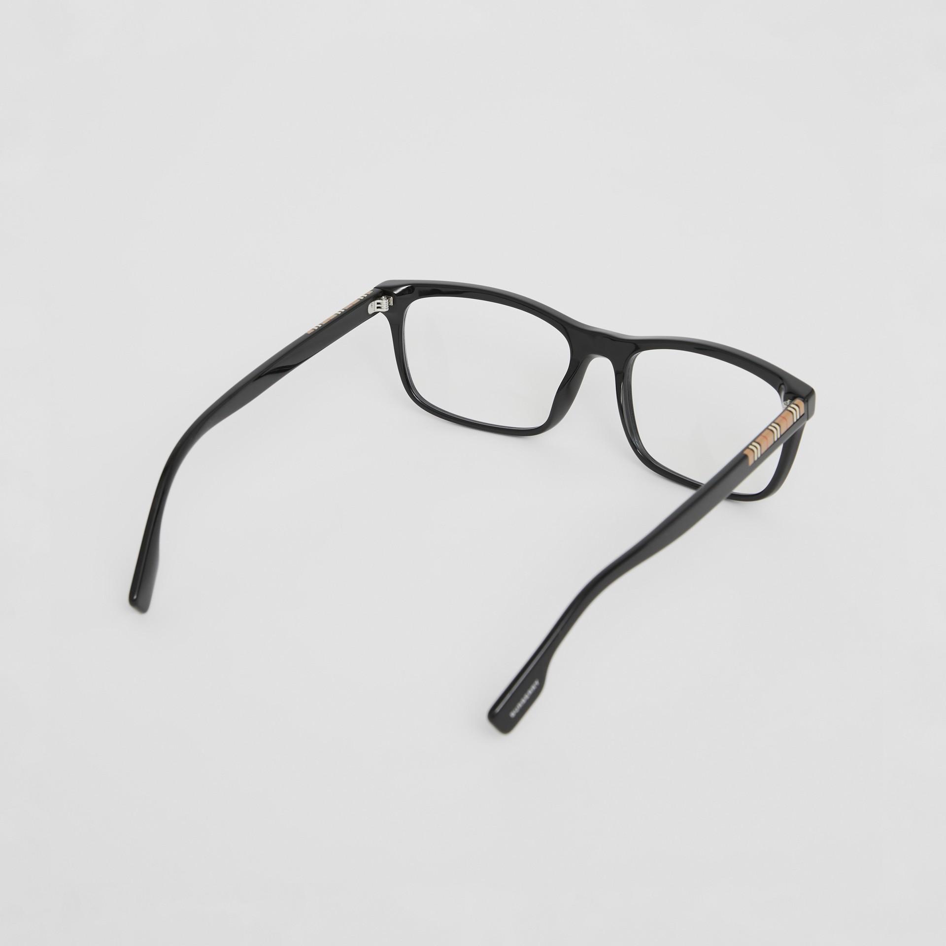 Montatura da vista rettangolare con iconico motivo a righe (Nero) - Uomo | Burberry - immagine della galleria 4