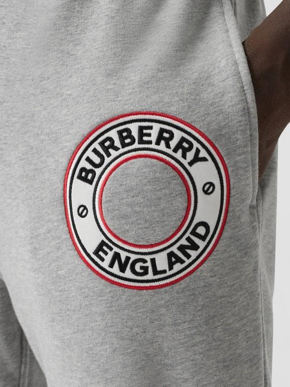 Logo Graphic Appliqué Cotton Jogging Pants in Pale Grey Melange - Men | Burberry - cell image 1
