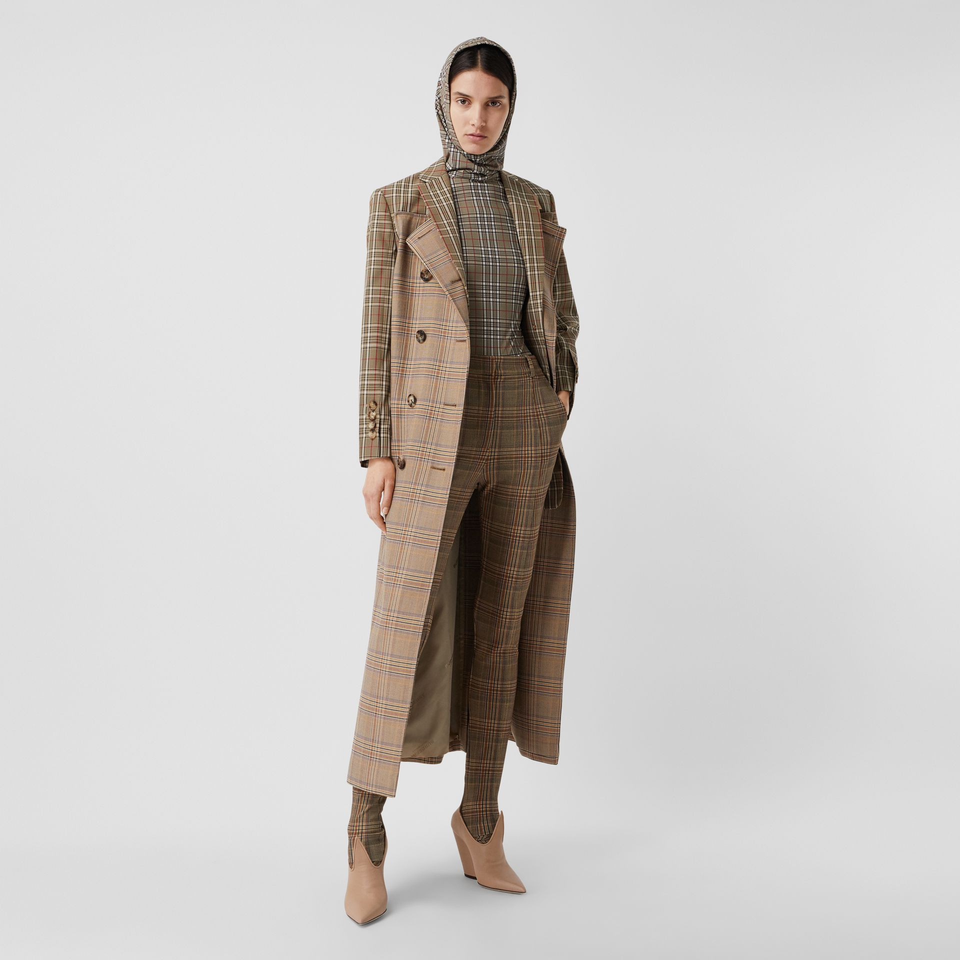 Custom Fit Contrast Check Wool Cotton Trench Coat in Dark Honey - Women | Burberry - gallery image 0
