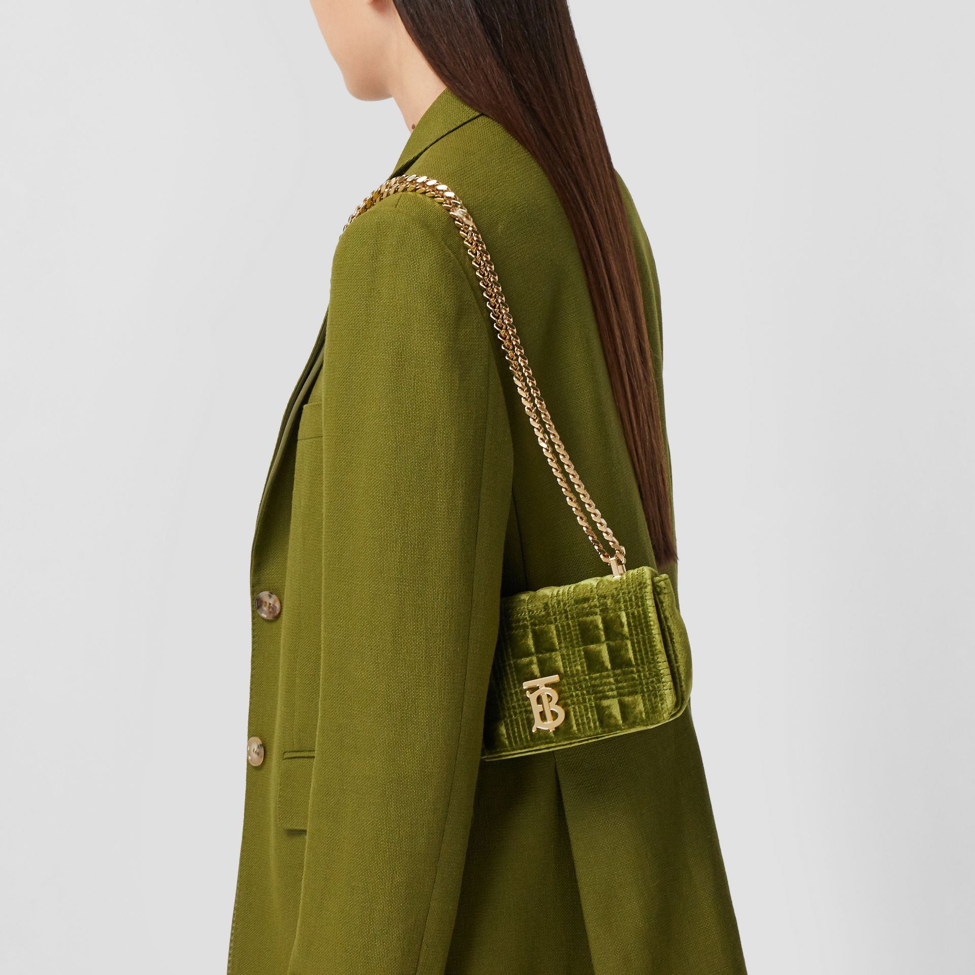 Mini Quilted Velvet Lola Bag in Juniper Green - Women | Burberry - gallery image 2
