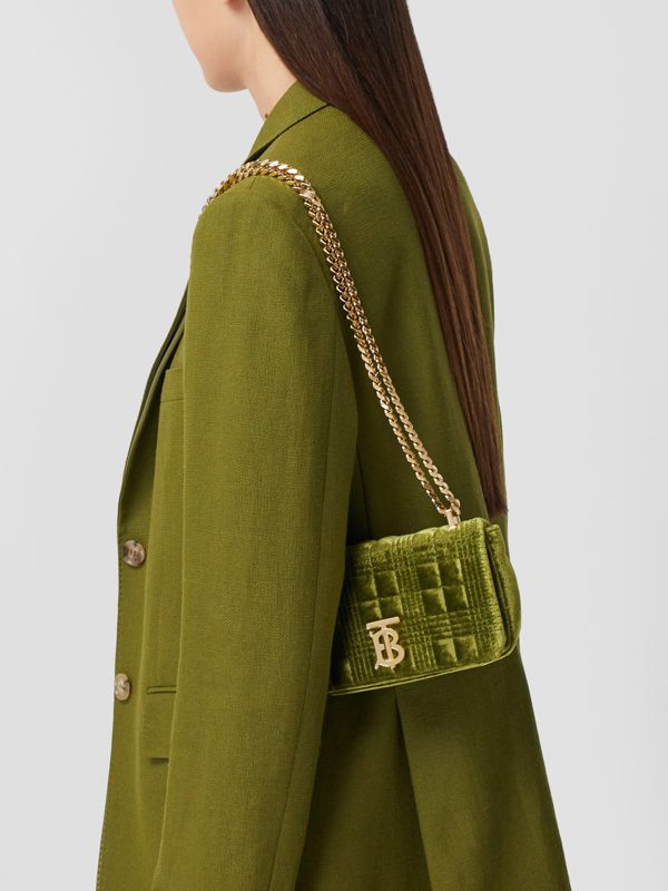 Mini Quilted Velvet Lola Bag in Juniper Green - Women | Burberry - cell image 2
