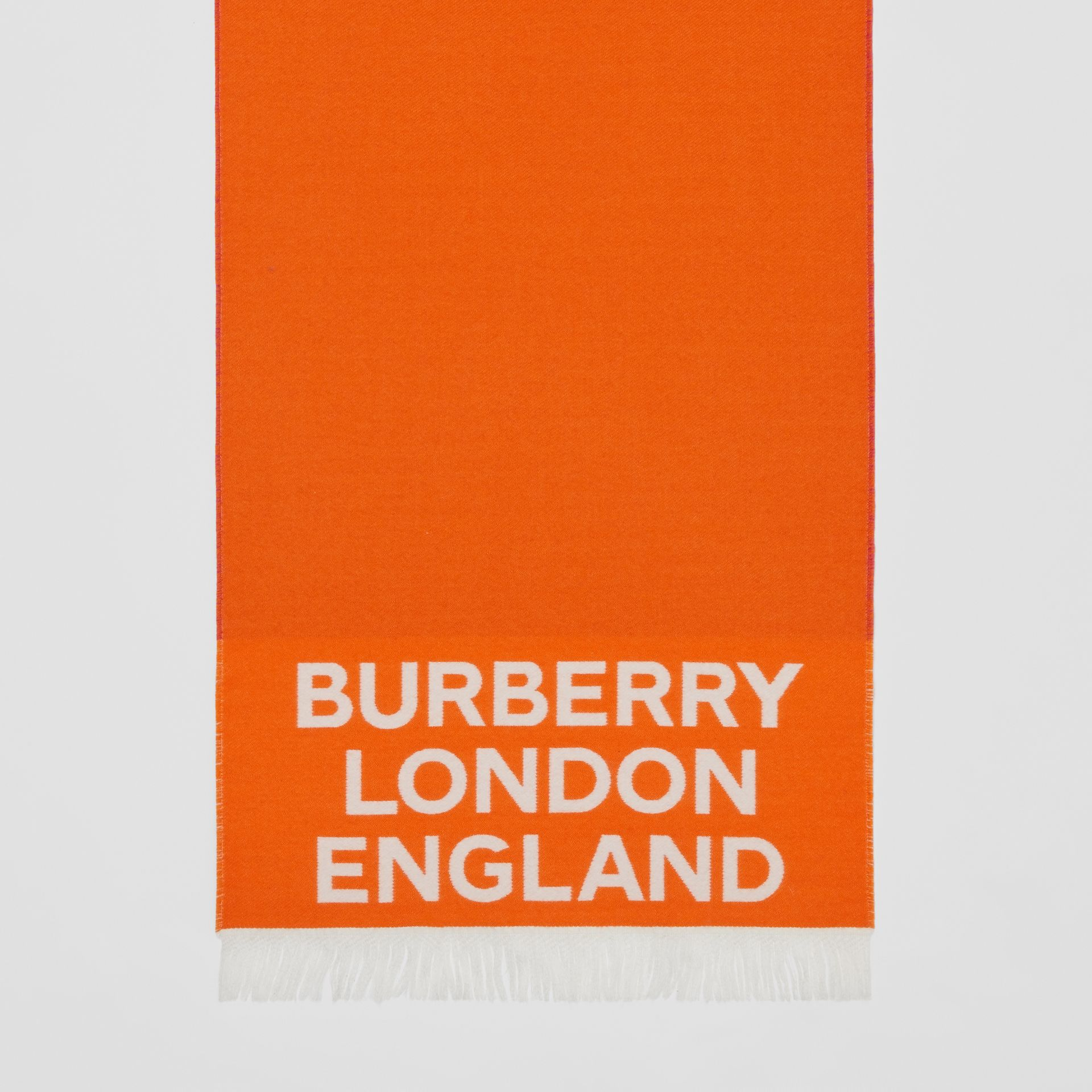 Love and Logo Wool Silk Jacquard Scarf in Orange | Burberry - gallery image 4