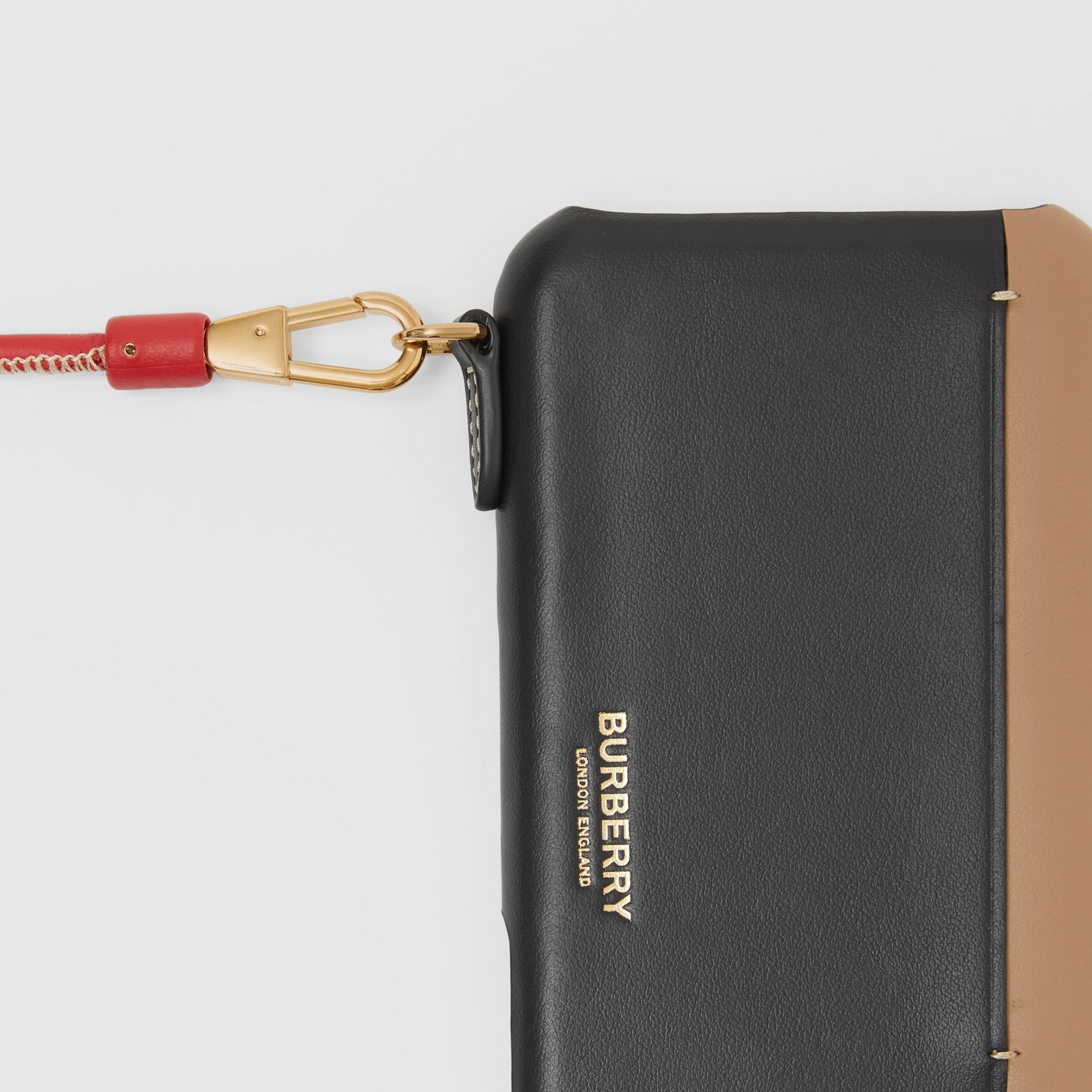 Two-tone Leather iPhone 11 Pro Case Lanyard in Black/camel | Burberry - gallery image 1