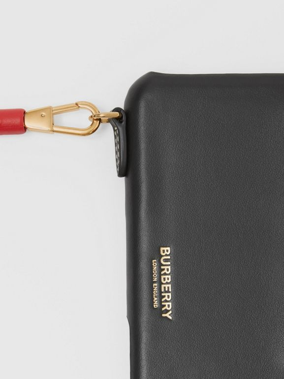 Two-tone Leather iPhone 11 Pro Case Lanyard in Black/camel | Burberry - cell image 1