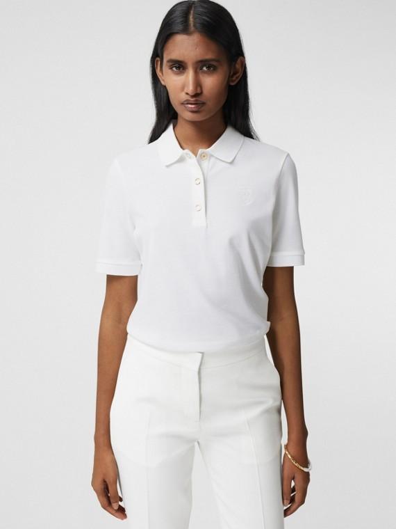 Monogram Motif Cotton Piqué Polo Shirt in White