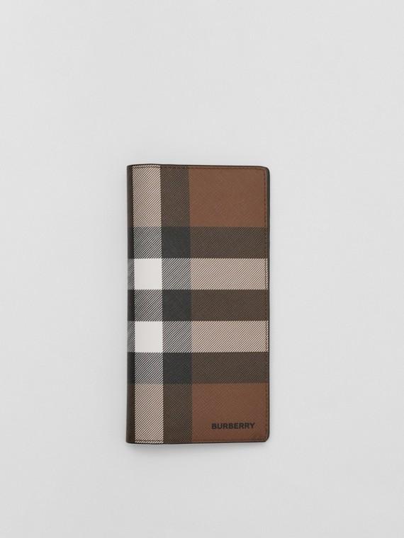 Check E-canvas Continental Wallet in Dark Birch Brown