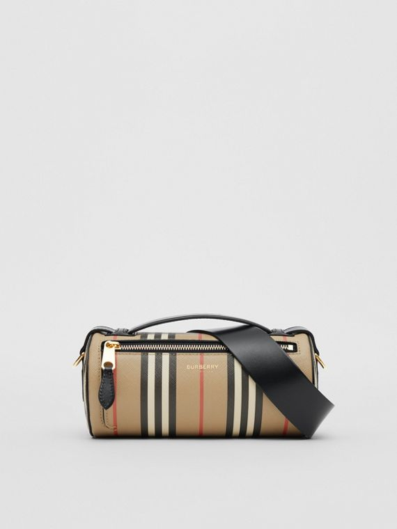 The Icon Stripe E-canvas and Leather Barrel Bag in Archive Beige