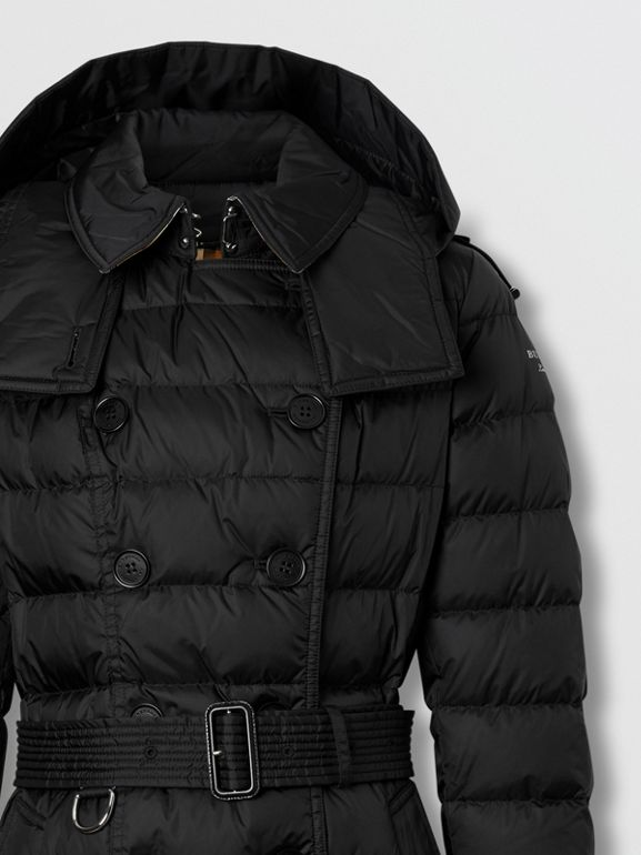 Detachable Hood Belted Puffer Coat in Black - Women | Burberry - cell image 1