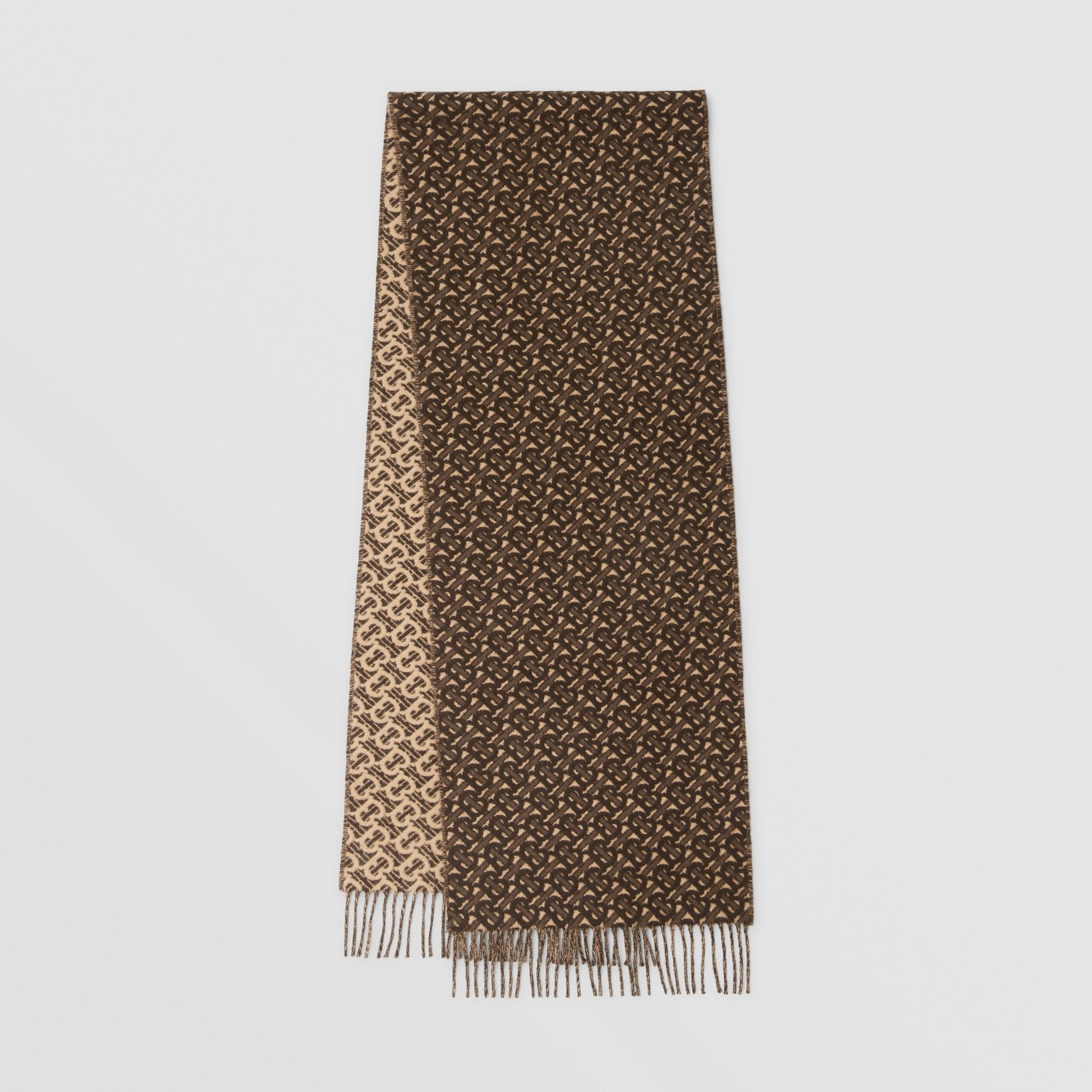 Monogram Cashmere Jacquard Scarf in Bridle Brown | Burberry - gallery image 0