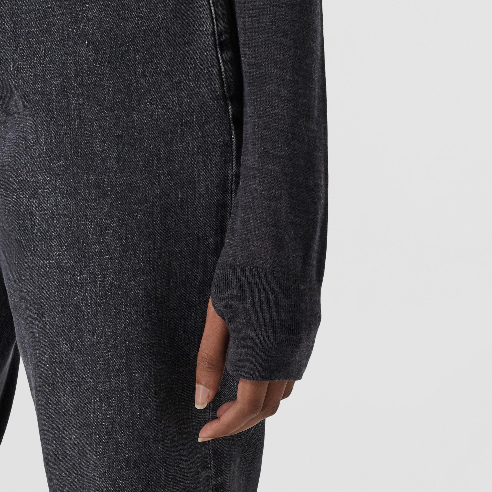 Stripe Detail Merino Wool Hooded Top in Dark Grey Melange - Women | Burberry - gallery image 4
