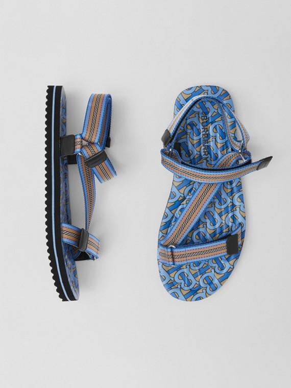Sandalen mit Streifen- und Monogrammmuster (Warmes Königsblau)