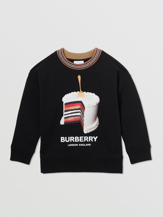 Cake Print Cotton Sweatshirt in Black
