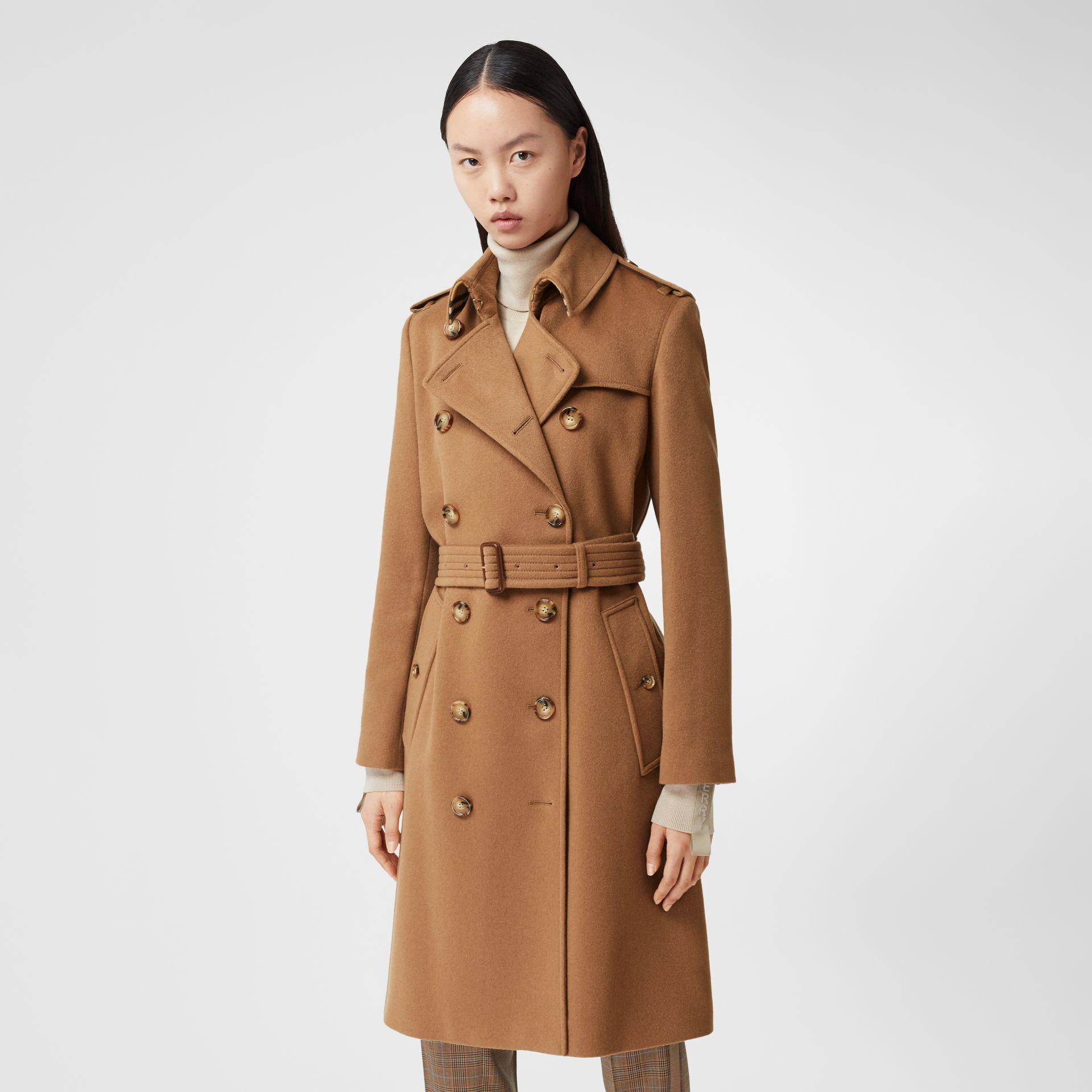 Regenerated Cashmere Trench Coat in Bronze - Women | Burberry - gallery image 6