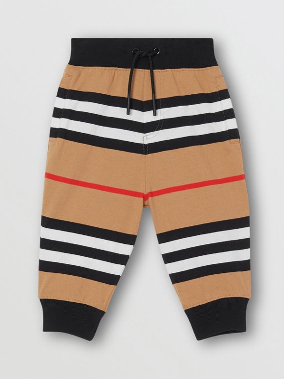 Icon Stripe Cotton Trackpants in Archive Beige