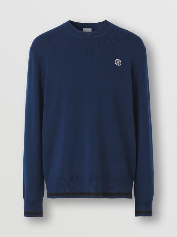 Monogram Motif Cashmere Cotton Sweater in Ink Blue