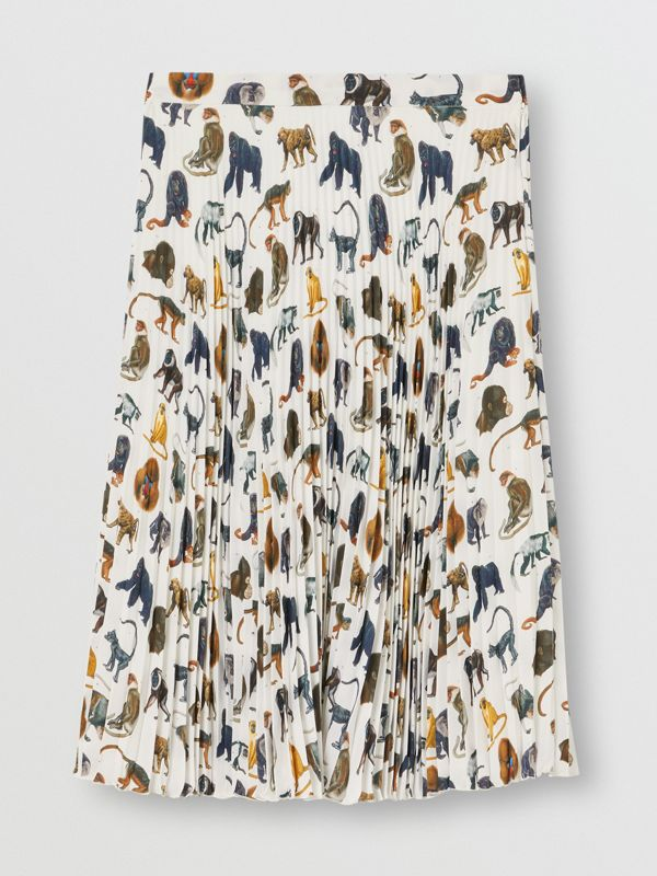 Monkey Print Crepe De Chine Pleated Skirt in White | Burberry United Kingdom - cell image 2