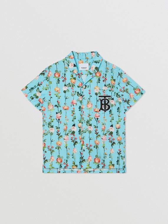 Short-sleeve Monogram Motif Rose Print Cotton Shirt in Blue Topaz