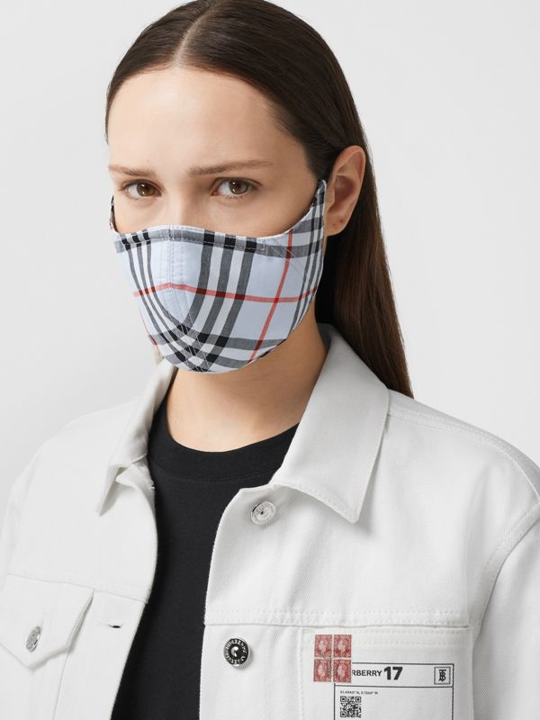 Vintage Check Cotton Face Mask in Pale Blue | Burberry - cell image 2
