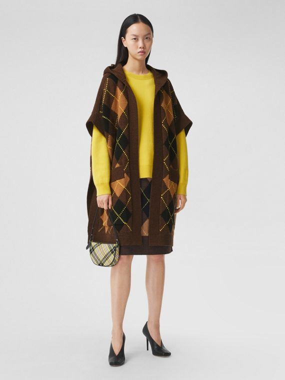 Argyle Intarsia Wool Cashmere Hooded Cape in Brown
