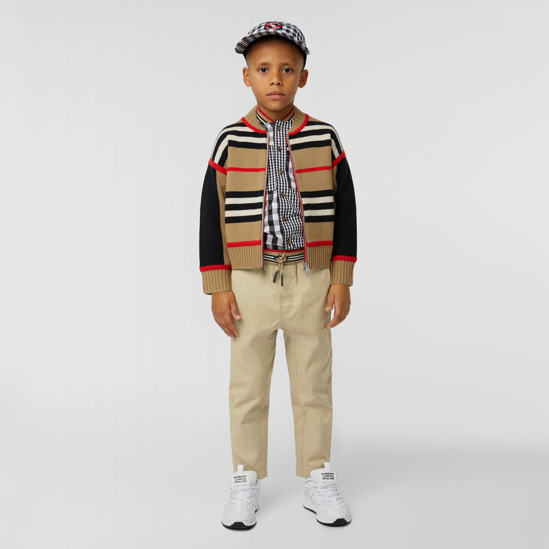 Icon Stripe Detail Cotton Twill Drawcord Trousers in Honey   Burberry United Kingdom - gallery image 2