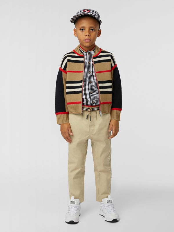 Icon Stripe Detail Cotton Twill Drawcord Trousers in Honey   Burberry United Kingdom - cell image 2