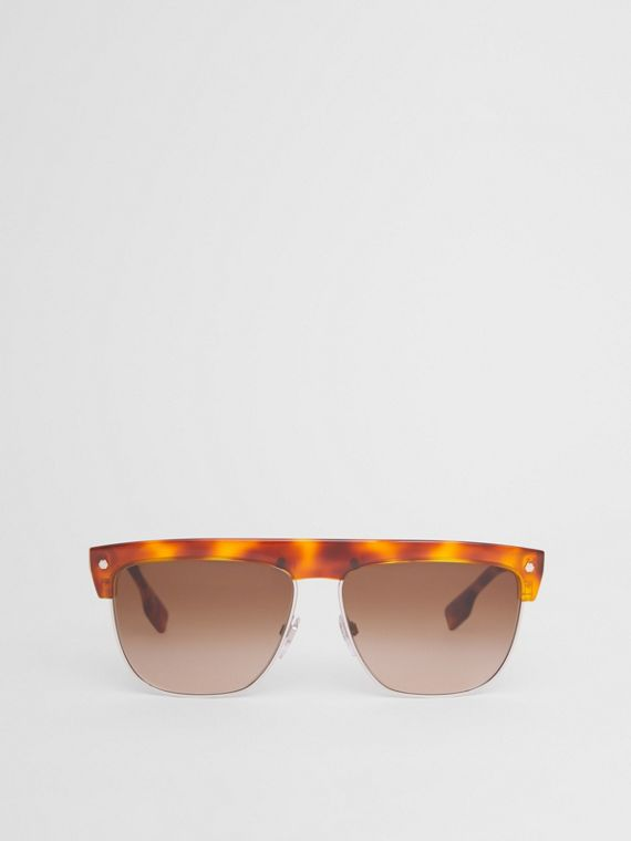 Square Frame Sunglasses in Tortoiseshell Amber