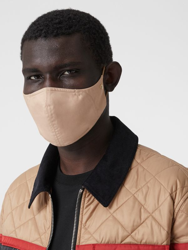 Logo Detail Cotton Face Mask in Soft Fawn | Burberry United States - cell image 3