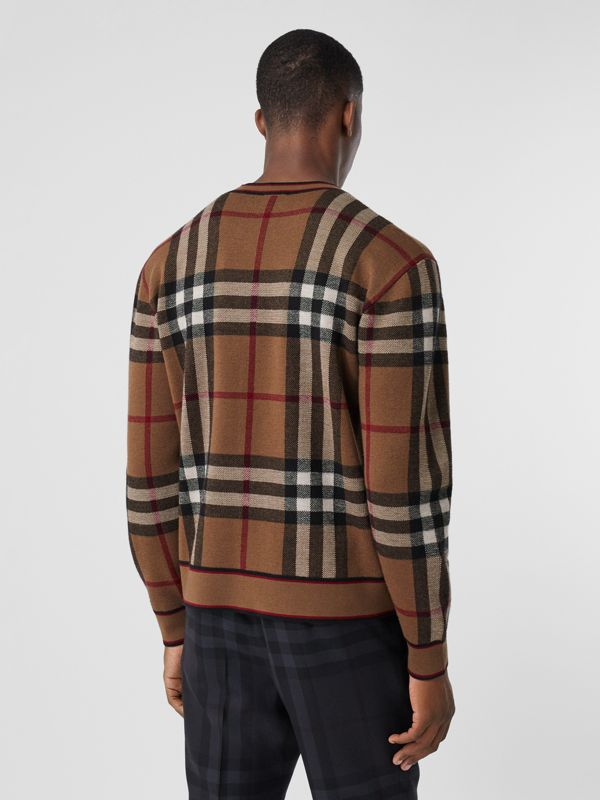 Check Merino Wool Jacquard Sweater in Birch Brown - Men | Burberry - cell image 2