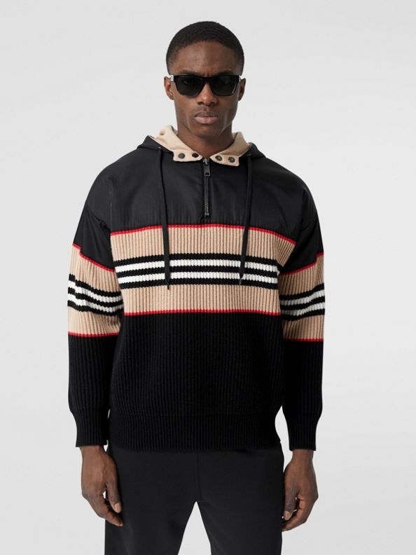 Felpa con cappuccio in lana e cashmere a coste con iconico motivo a righe