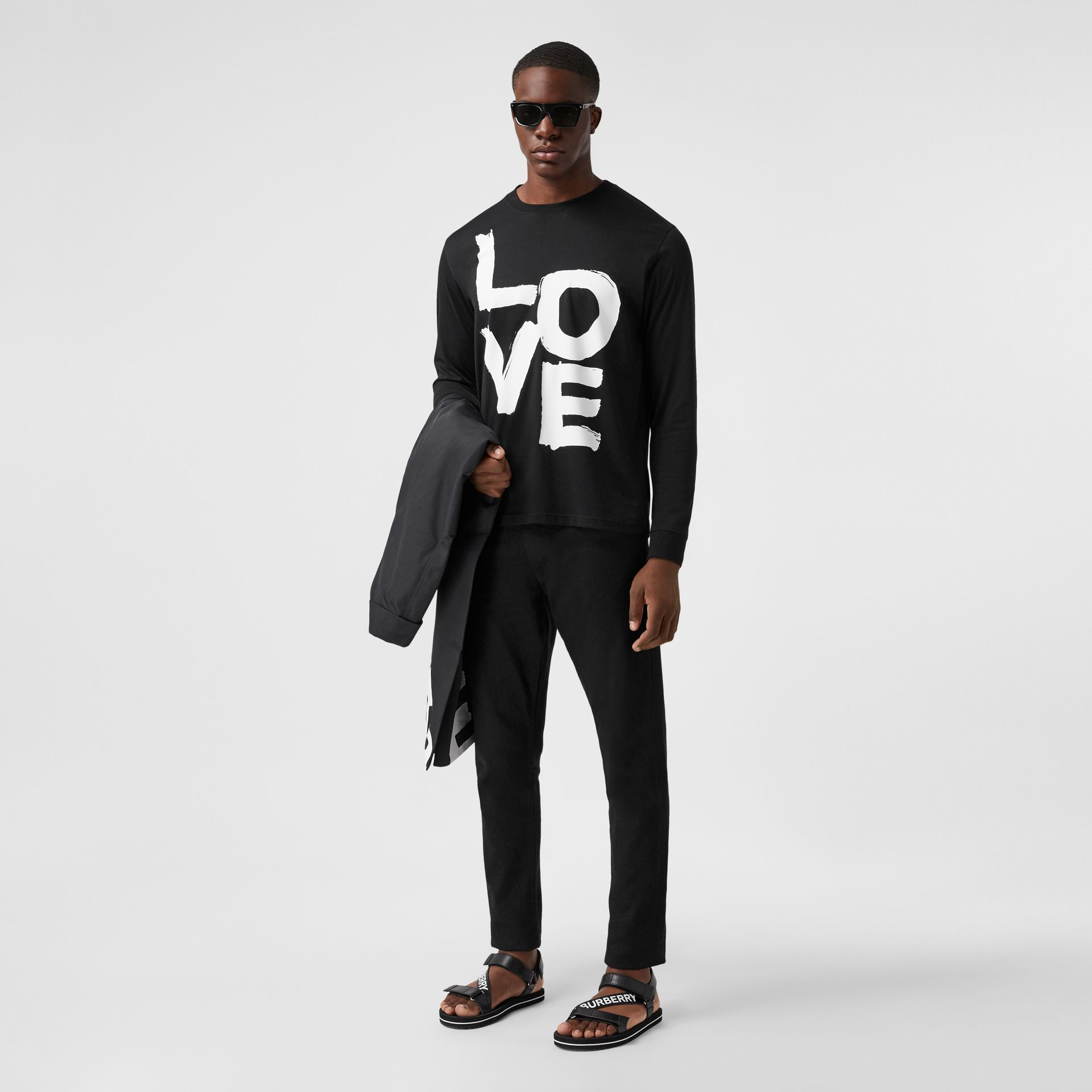 Long-sleeve Love Print Cotton Top in Black - Men | Burberry - gallery image 4