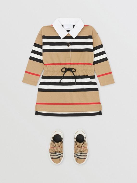 롱 슬리브 아이콘 스트라이프 코튼 드레스 (아카이브 베이지)