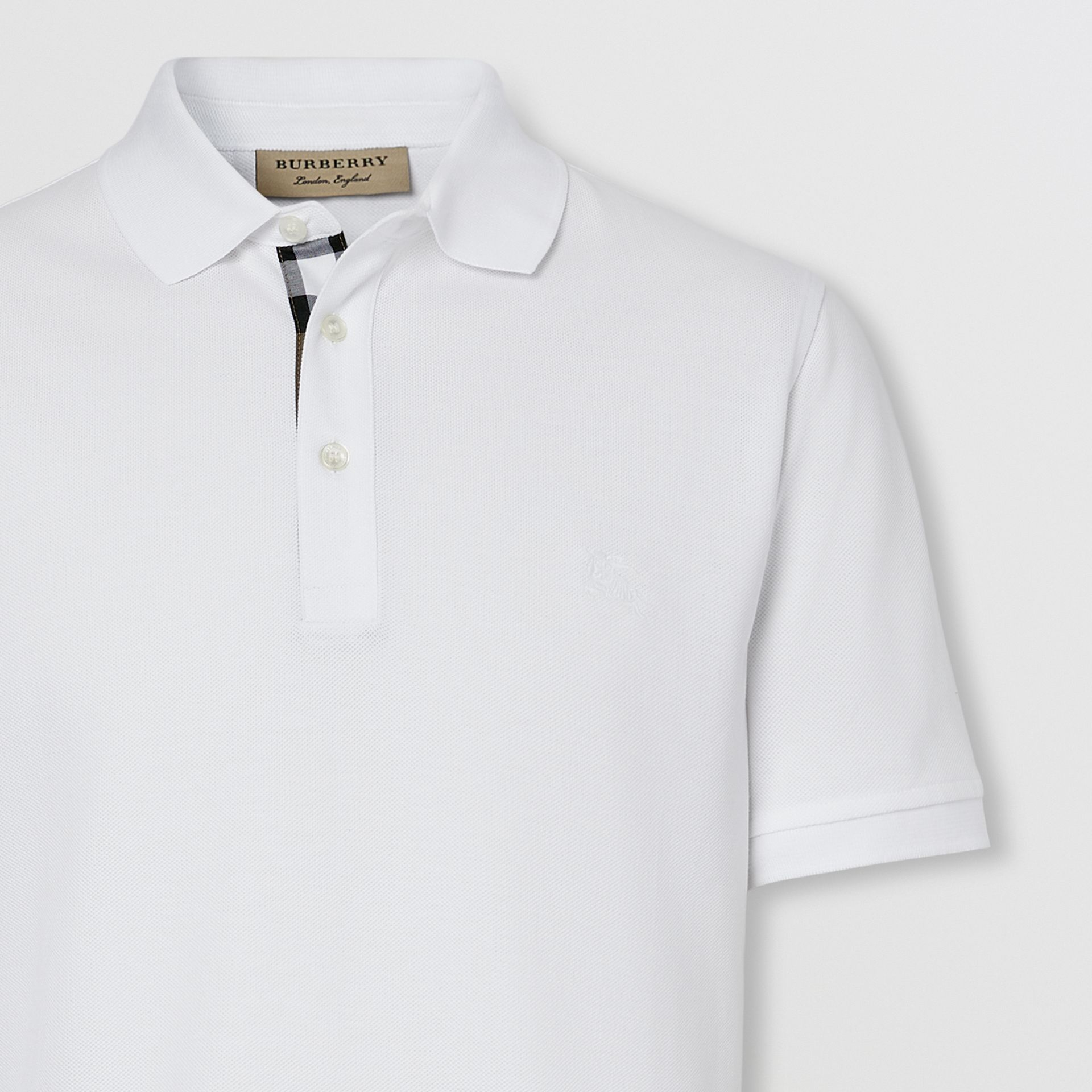 Check Placket Cotton Piqué Polo Shirt in White - Men | Burberry - gallery image 1