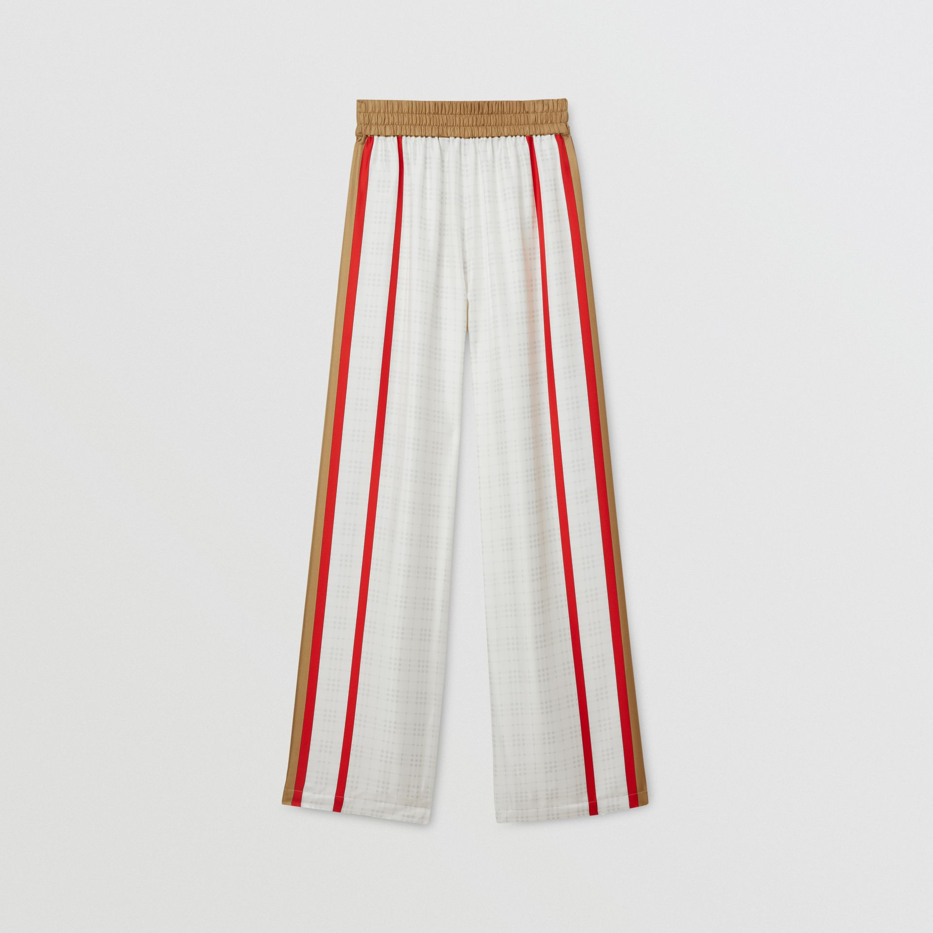 Archive Scarf Print Silk Wide-leg Trousers in Honey - Women | Burberry United Kingdom - gallery image 4