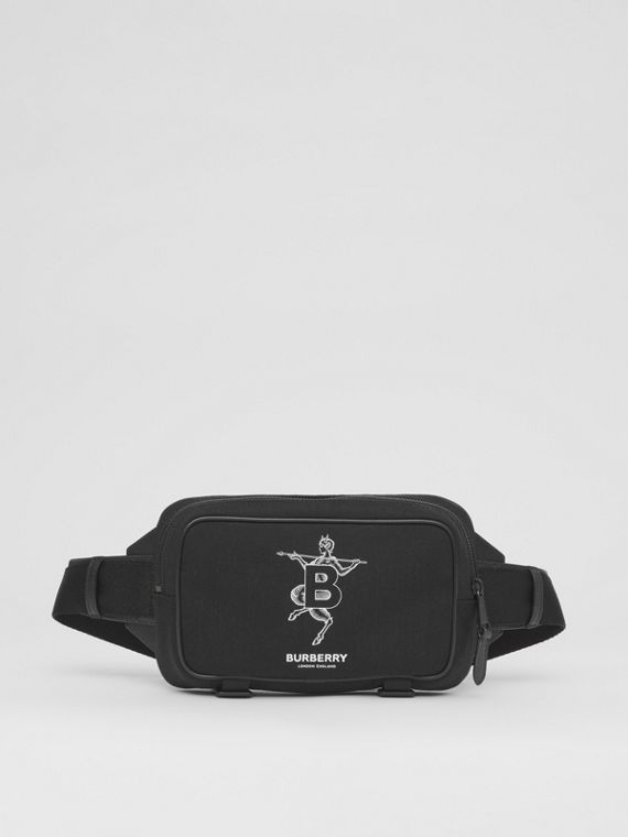 Mythical Alphabet Motif Technical Cotton Bum Bag in Black